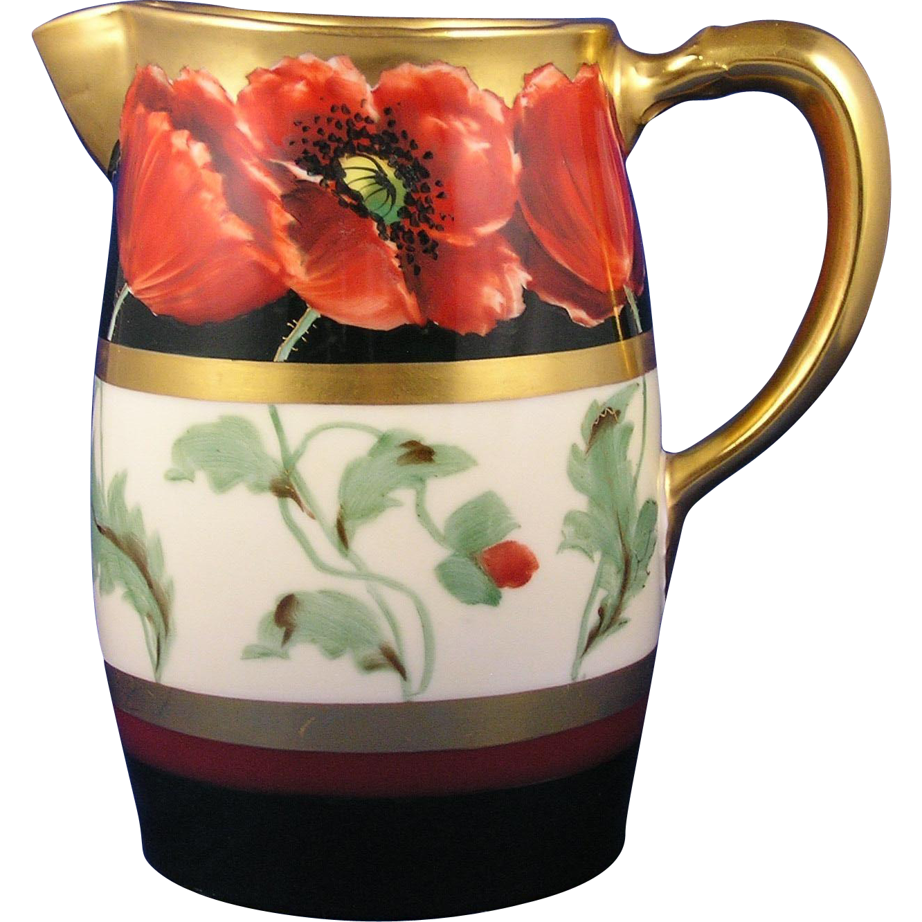 "GDA Limoges Pickard Studios ""Poppy & Black"" Design Pitcher (c.1905-1910)"