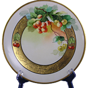 "Limoges Mark 6 Pickard Studios Cherry Design Plate (Signed ""Vokral"" for Jeremiah Vokral/c.1905-1910)"