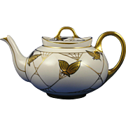 Hutschenreuther Selb Bavaria Gold Butterfly Motif Teapot (Signed/c.1930-1940)
