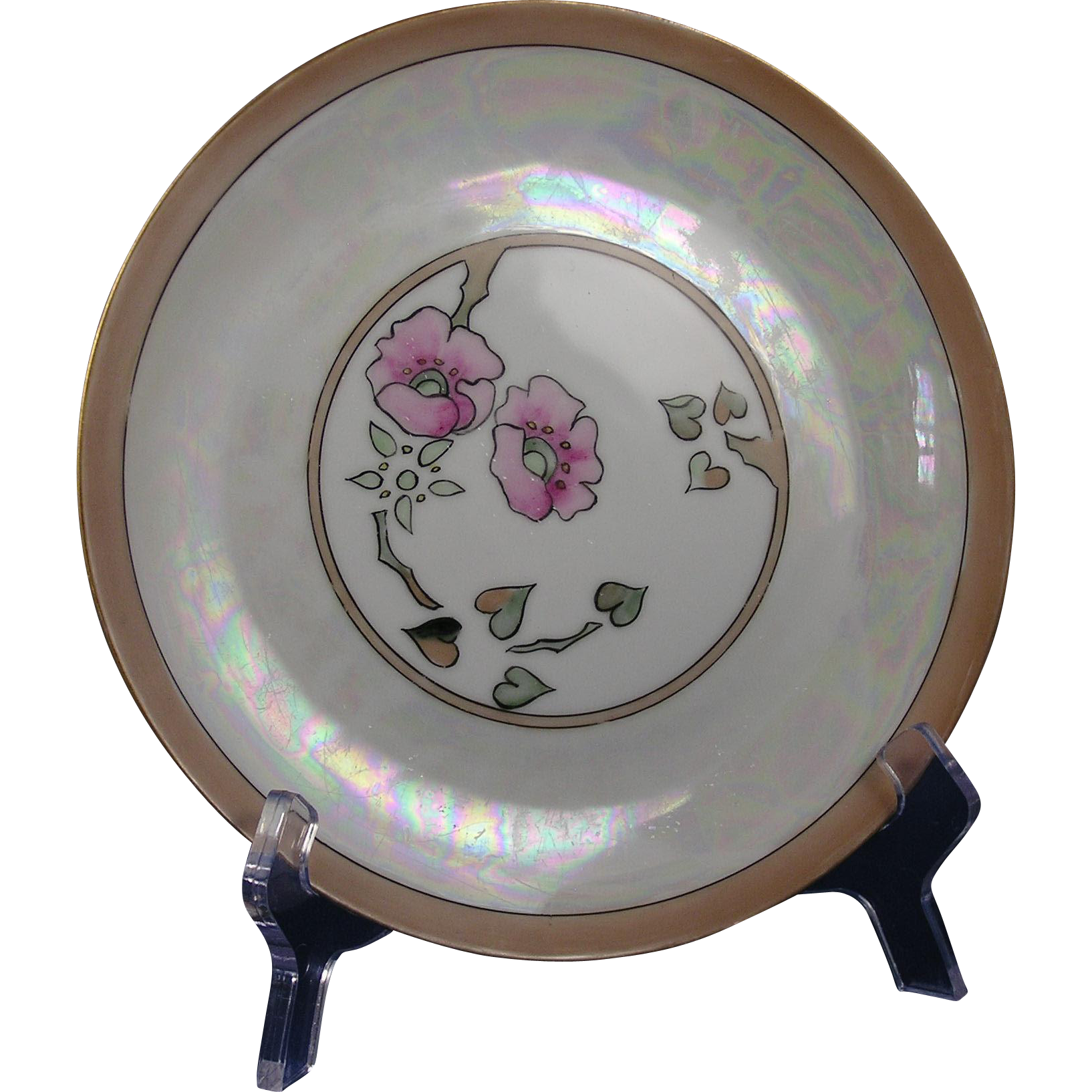 "Hutschenreuther Selb Bavaria Buchanan Studio Indianapolis Arts & Crafts Floral Motif Plate (Signed ""E.E.G.""/c.1910-1940)"