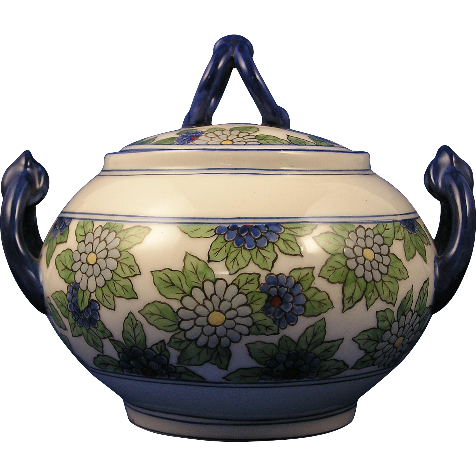 William Guerin & Co. (WG&Co.) Limoges Enameled Floral Motif Sugar/Trinket Jar (Signed/c.1891-1900)