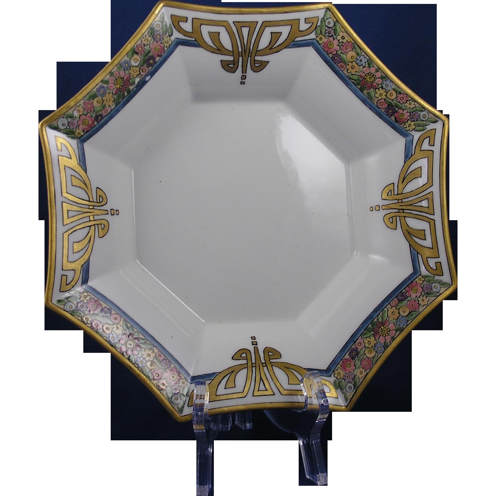 Paroutaud Freres (P&P) Limoges Enameled Art Deco Floral Bowl (c.1903-1917)
