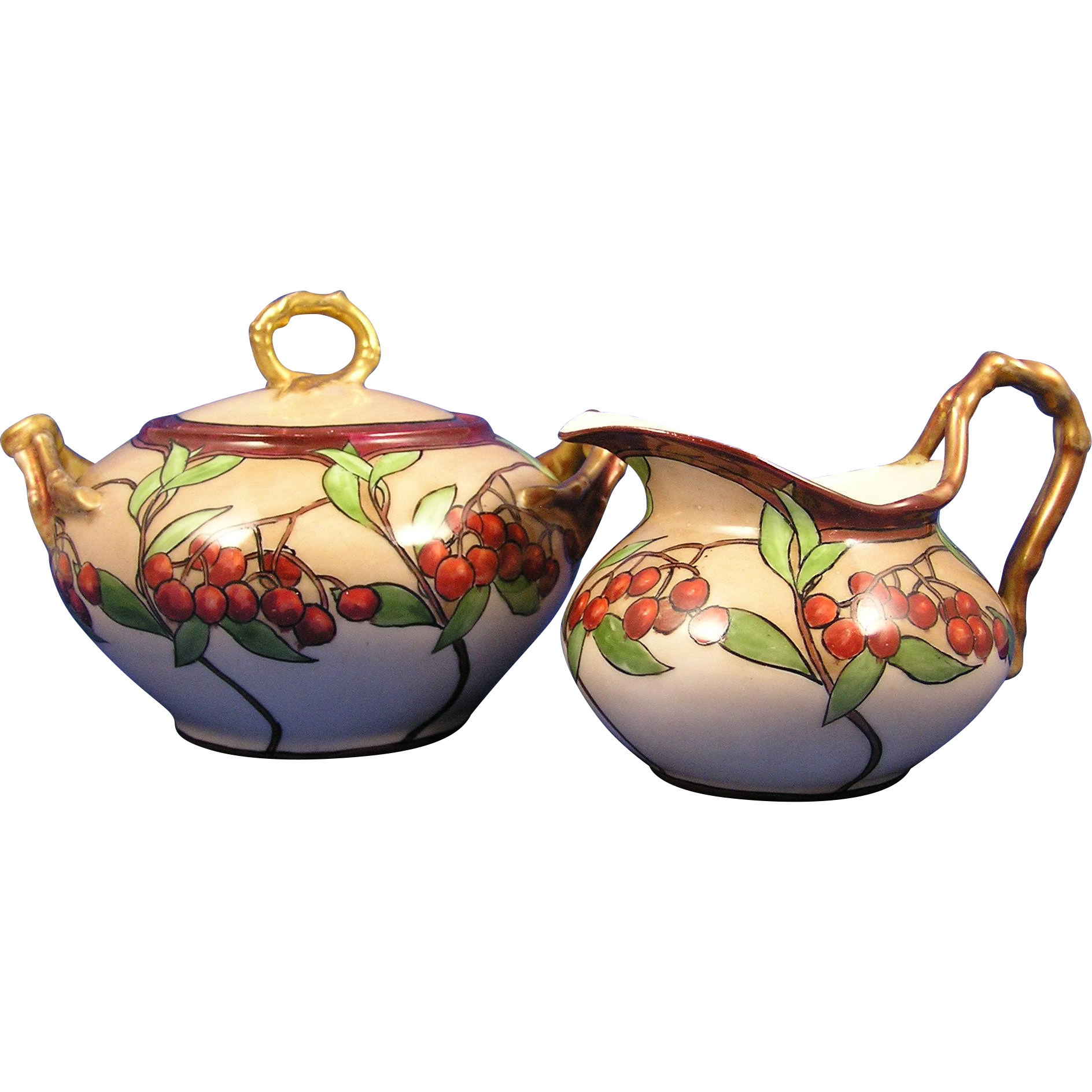 "Jean Pouyat (JP) Limoges ""Mountain Ash"" Design Creamer & Sugar Set (c.1890-1932)"