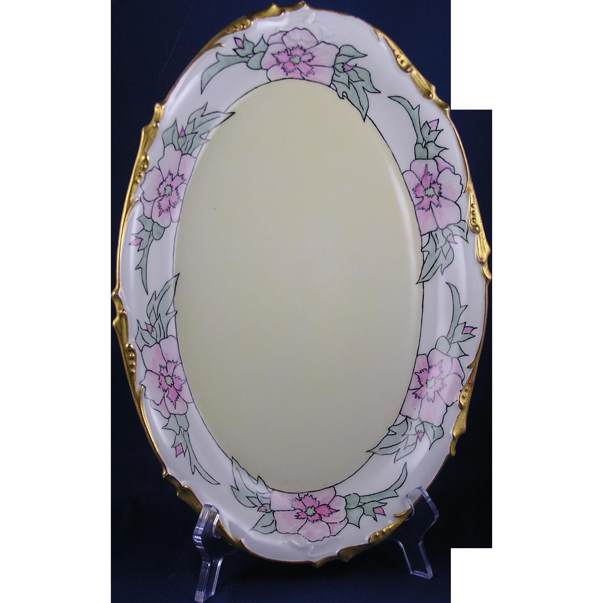 """Jean Pouyat (JP) Limoges Arts & Crafts Pink Floral Design Platter (Signed """"E.K.S.""""/c.1908)"""