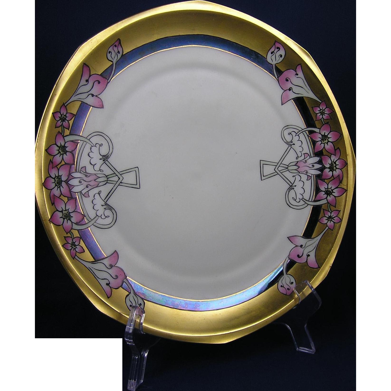"Moritz Zdekauer (MZ) Austria Pickard ""Pink Weigelas"" Pattern Plate (c.1910-1918)"