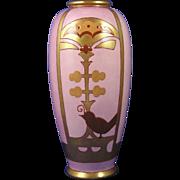 American Satsuma Arts & Crafts Mauve & Gold Bird Design Vase (c.1910-1920)