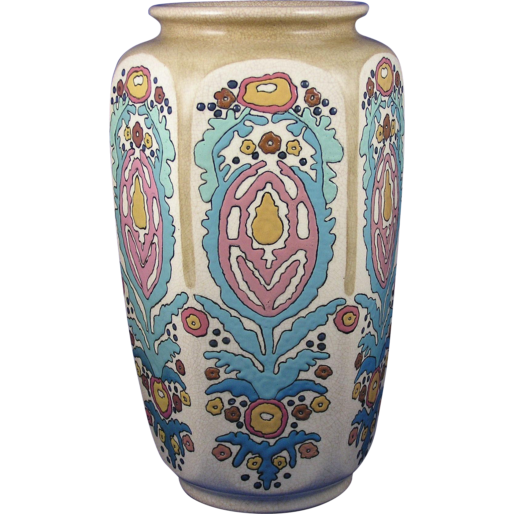 "American Satsuma Enameled Arts & Crafts Floral Motif Vase (Signed ""L. Philips""/c.1910-1920)"