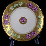 "Haviland Limoges Stouffer Studios Violet Design Plate (Signed ""Arno"" for Edith Arno/c.1906-1914)"