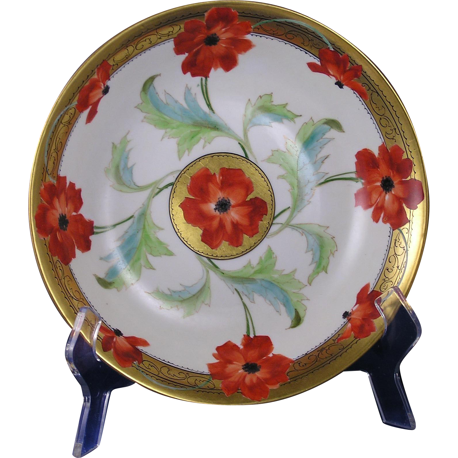 Mavaleix (PMdeM) Limoges Stouffer Studios Poppy Design Bowl (Signed/c.1906-1914)