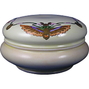 "William Guerin & Co. (WG&Co.) Limoges Egyptian Revival Winged Scarab/Beetle Design Covered Dish/Dresser Jar (Signed ""S.C.J.""/c.1900-1932)"