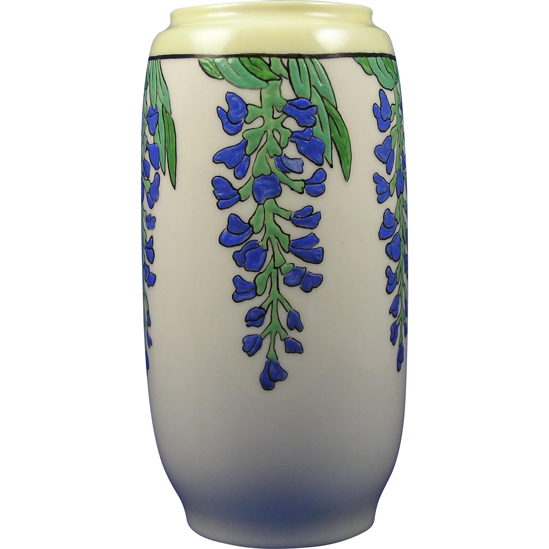 "Lenox Belleek Arts & Crafts Enameled Wisteria Design Vase (Signed ""H.B. Vaughan""/c.1906-1924)"