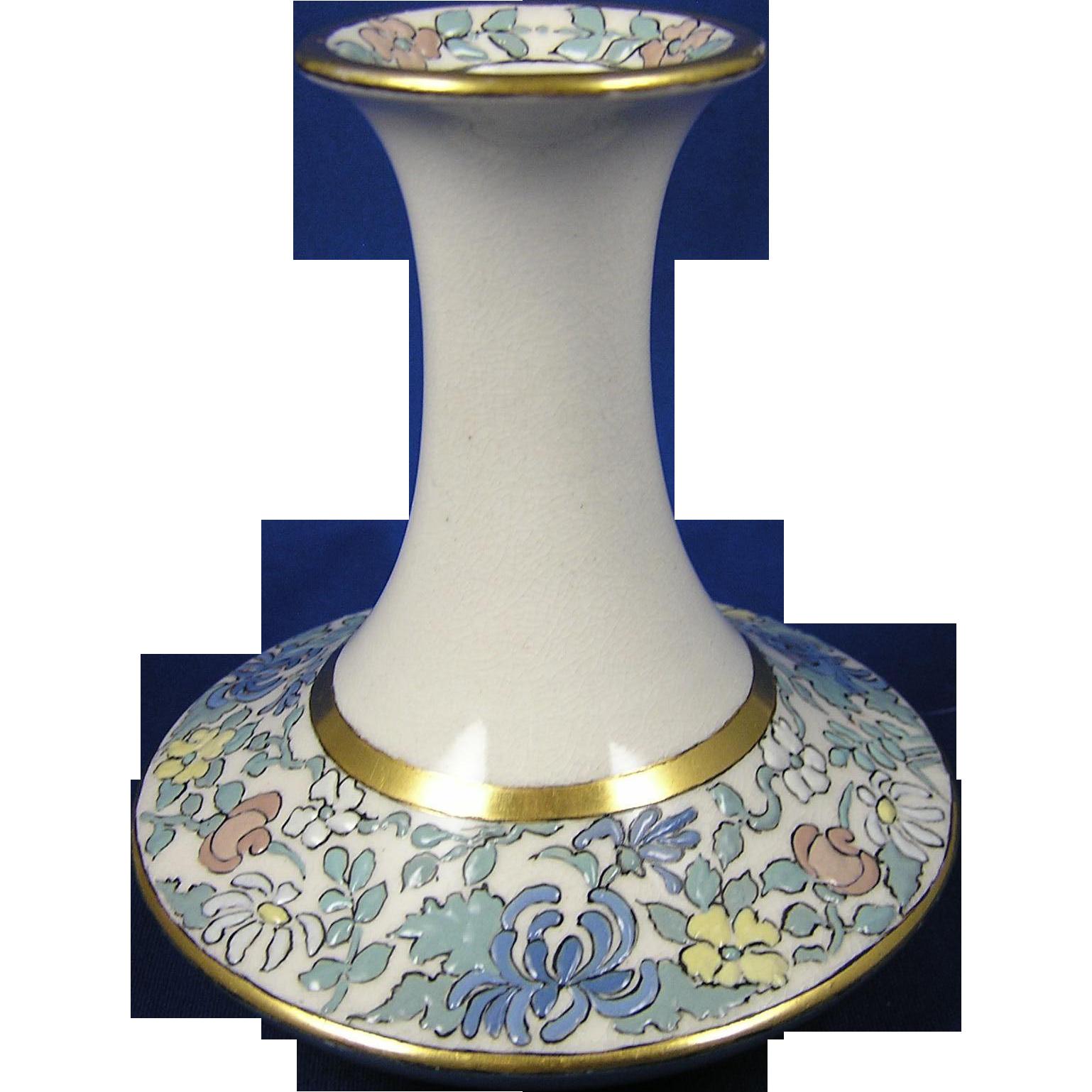 """American Satsuma Enameled Arts & Crafts Floral Motif Vase (Signed """"S. Hoover""""/c.1910-1920)"""