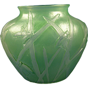 Consolidated Glass Co. Green Wash Katydid Design Vase (c. 1920's)