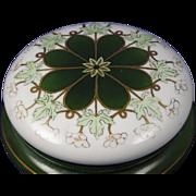 """Klingenberg & Dwenger (AKD) Limoges Arts & Crafts Floral & Leaf Design Covered Dish/Dresser Jar (Signed """"SA""""/c.1890-1910)"""