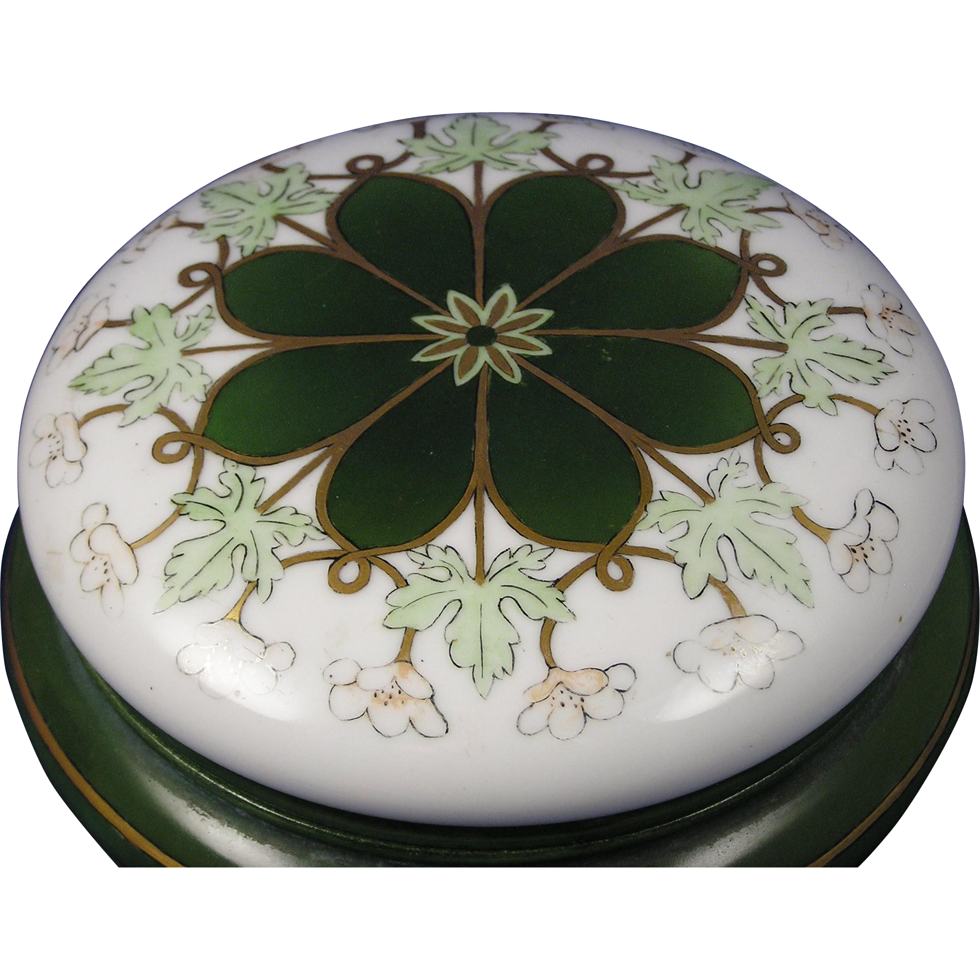 "Klingenberg & Dwenger (AKD) Limoges Arts & Crafts Floral & Leaf Design Covered Dish/Dresser Jar (Signed ""SA""/c.1890-1910)"