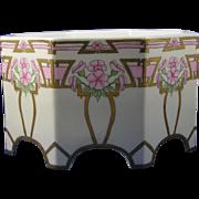 """Bernardaud & Co. (B&Co.) Limoges Arts & Crafts Floral Motif Jardinière/Vase (Signed """"V. Spotts""""/c.1912-1920) - Keramic Studio Design"""