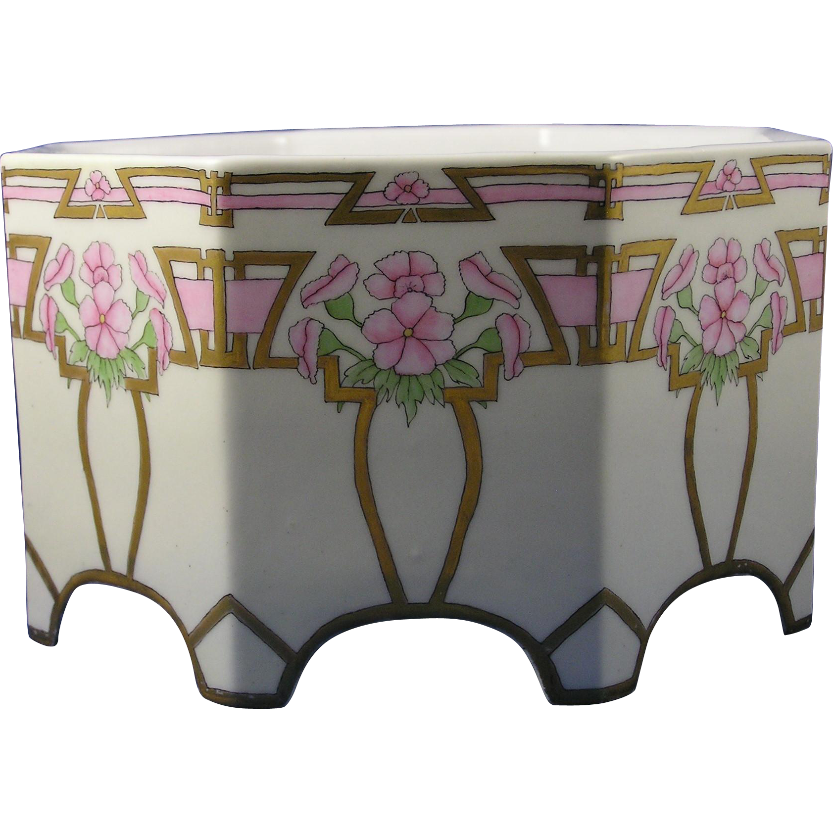 "Bernardaud & Co. (B&Co.) Limoges Arts & Crafts Floral Motif Jardinière/Vase (Signed ""V. Spotts""/c.1900-1914)"