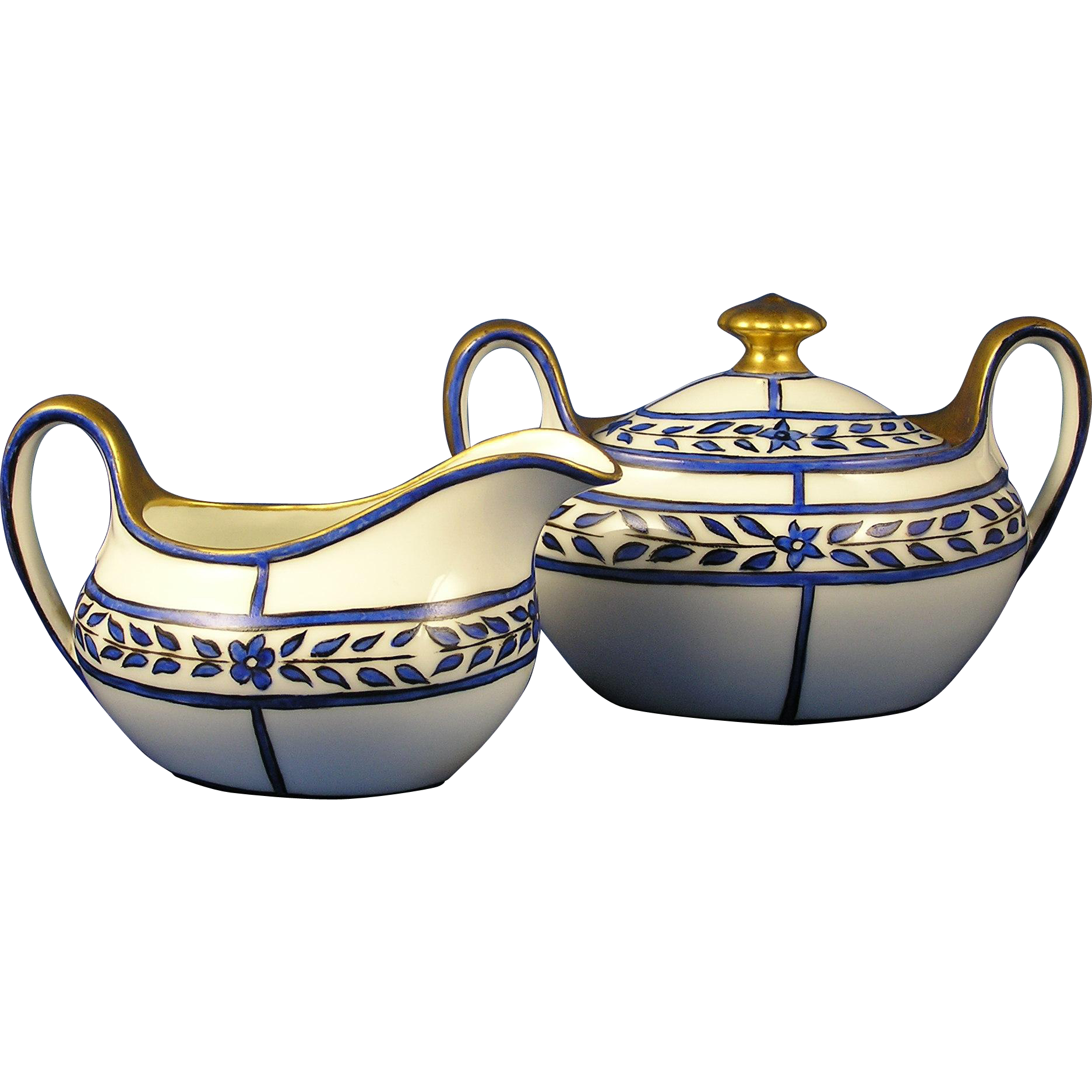 "Zeh Scherzer & Co. (ZS&Co.) Bavaria Arts & Crafts Blue Floral Design Creamer & Sugar Set (Signed ""LED""/c.1880-1930)"
