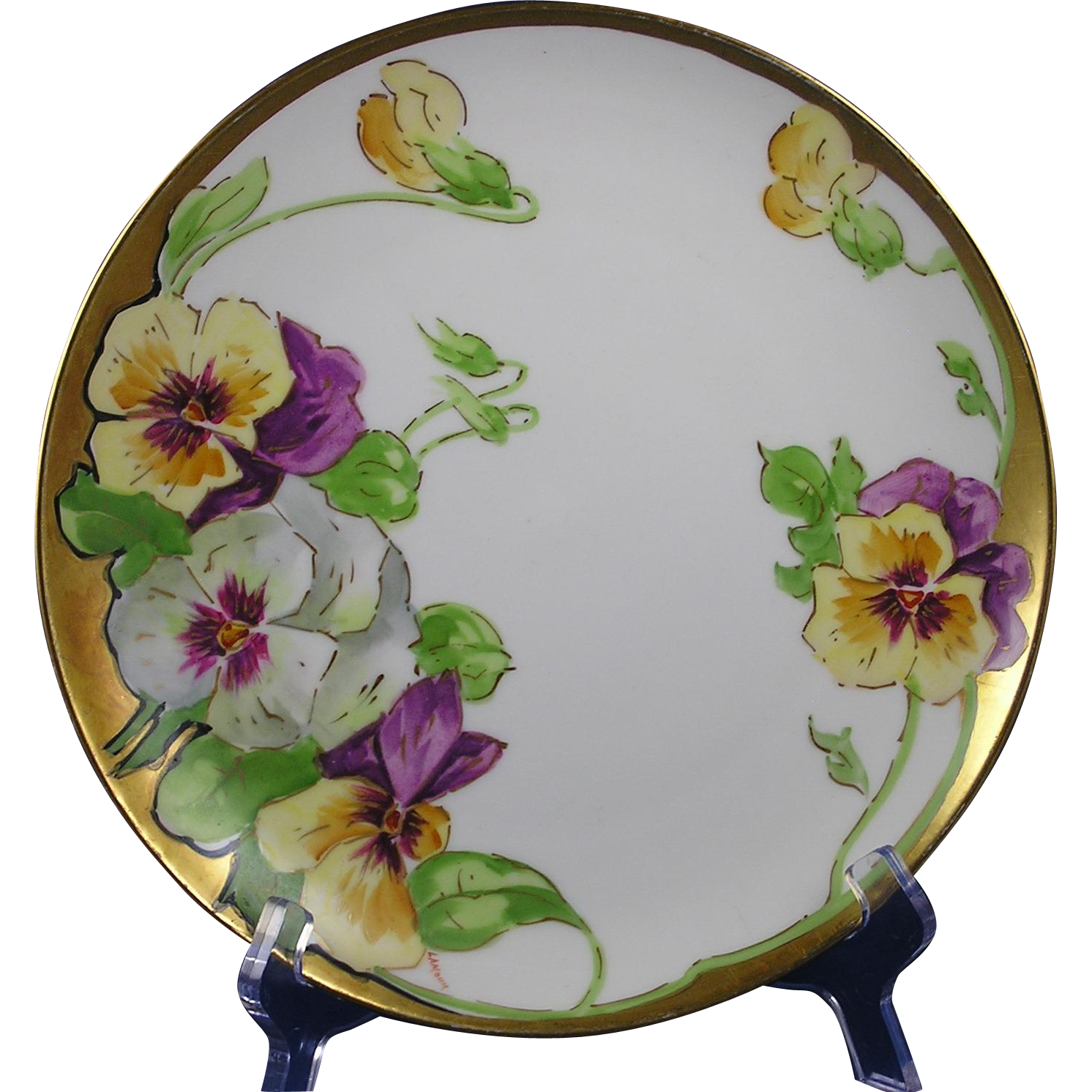 "Buchanan Studios Indianapolis Pansy Motif Plate (Signed ""Lamour""/c.1907-1930)"