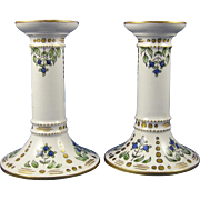 Legrand Limoges Arts & Crafts Blueberry Motif Candlesticks (c. 1920's)