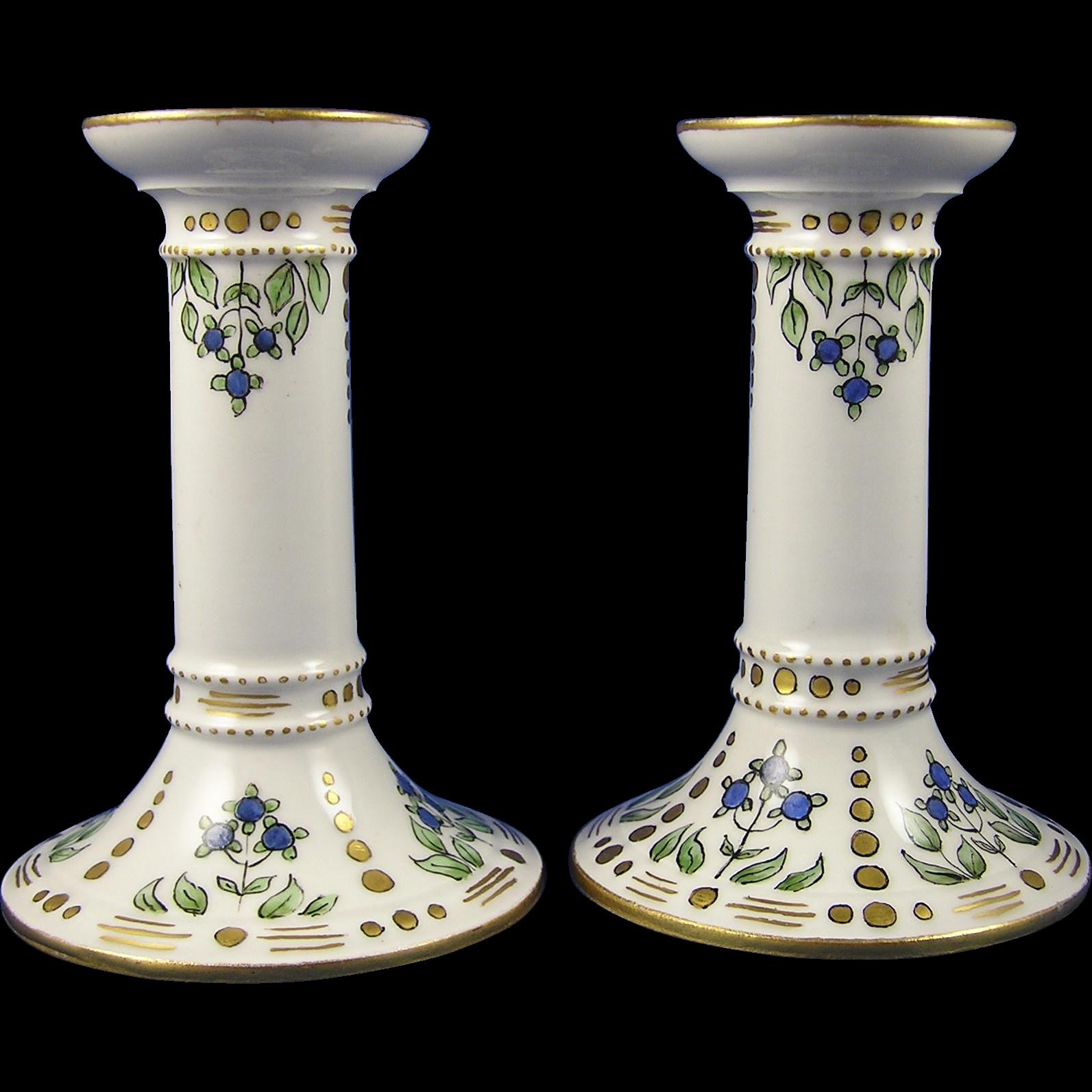 Legrand Limoges Arts & Crafts Blueberry Motif Candlesticks (c. 1920's)