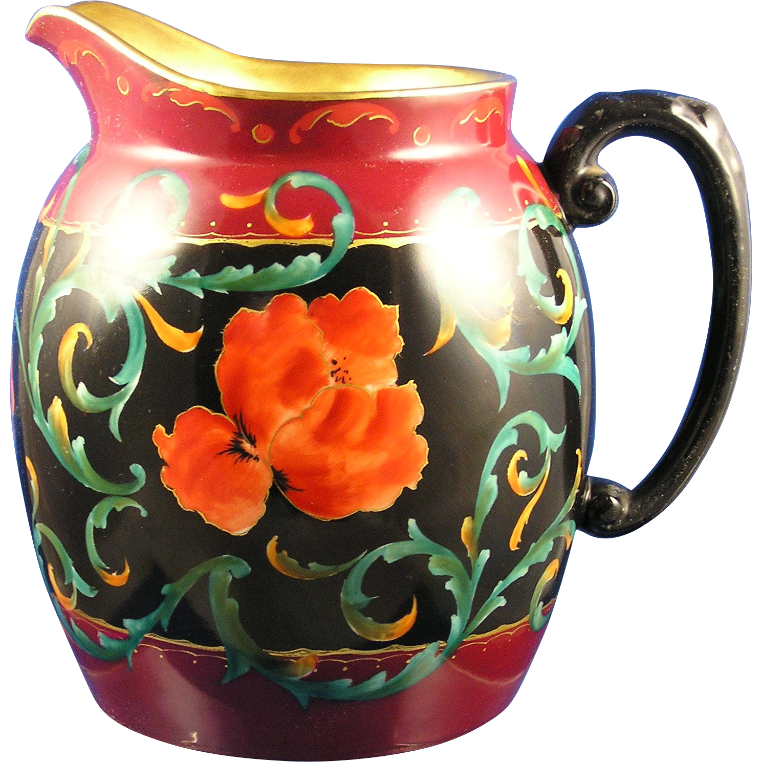 "Tressemann & Vogt (T&V) Limoges Dorique Poppy Design Pitcher (Signed ""Gibson""/c.1910-1920)"