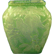 Consolidated Glass Co. Martele Green Wash Bird Design Vase (c. 1920's)