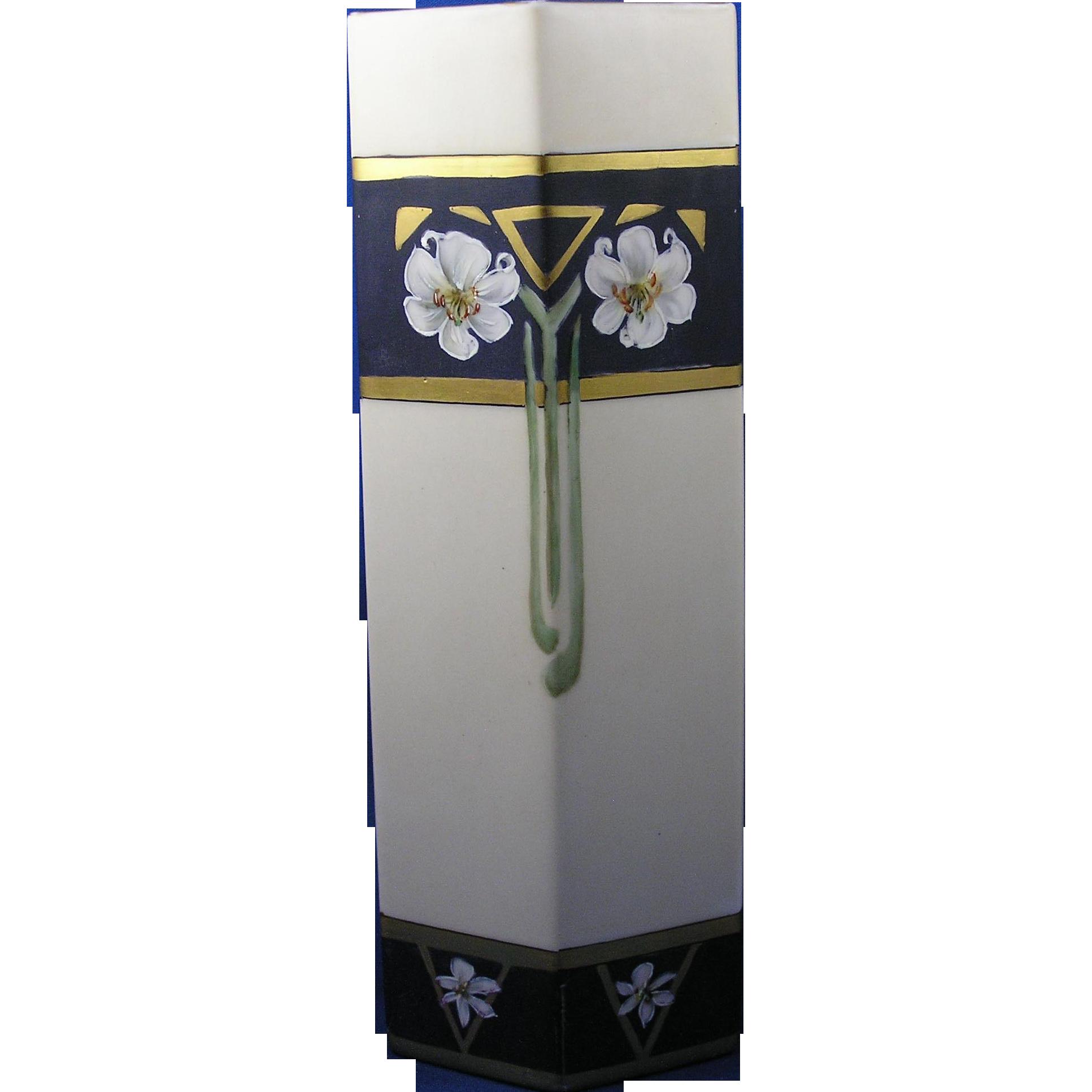 """Bernardaud & Co. (B&Co.) Limoges Arts & Crafts Lily Motif Vase (Signed """"Sisters of Notre Dame""""/c.1900-1914)"""