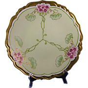 "Blakeman & Henderson (B&H) Limoges Nasturtium Design Plate/Charger (Signed ""Baumy""/c.1900-1918)"