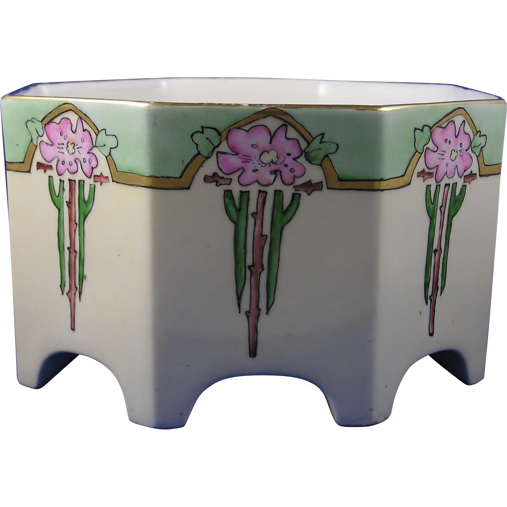 """Bernardaud & Co. (B&Co.) Limoges Arts & Crafts Wild Rose Motif Jardinière/Vase (Signed """"R.Y. Moses""""/c.1914-1930)"""