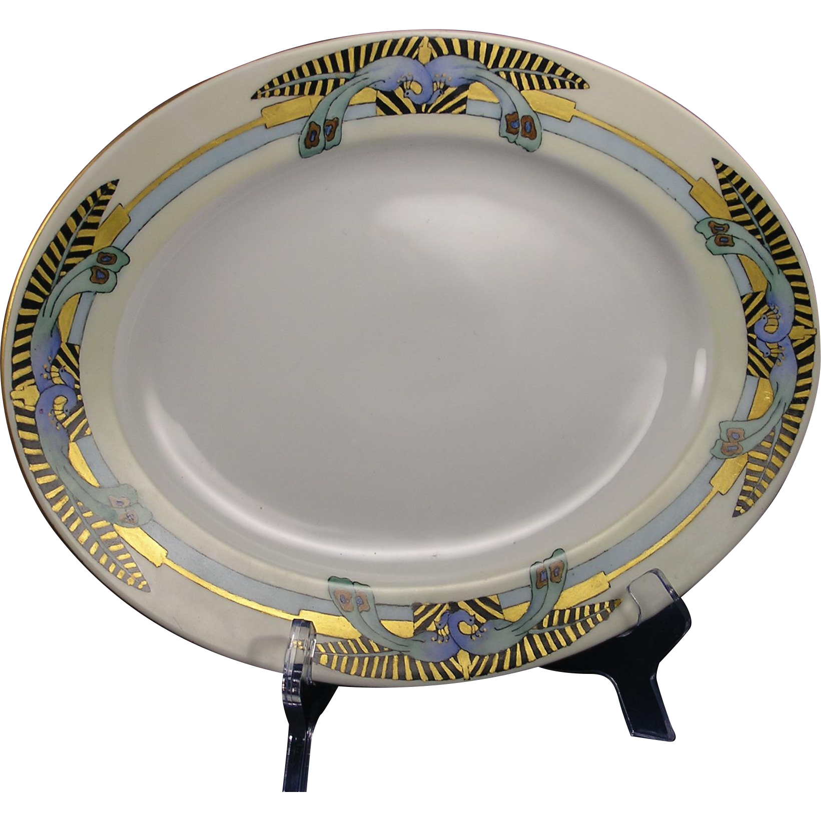 "Bohemia Ceramic Works Czecho-Slovakia Peacock Motif Serving Plate (Signed ""Maizie Meifert""/Dated 1947)"