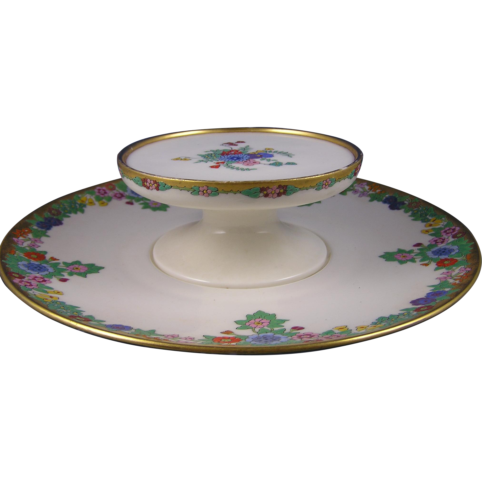 "Lenox Belleek Enameled Floral Design Tiered Serving Dish (Signed ""Hazel N. Green""/Dated 1926)"