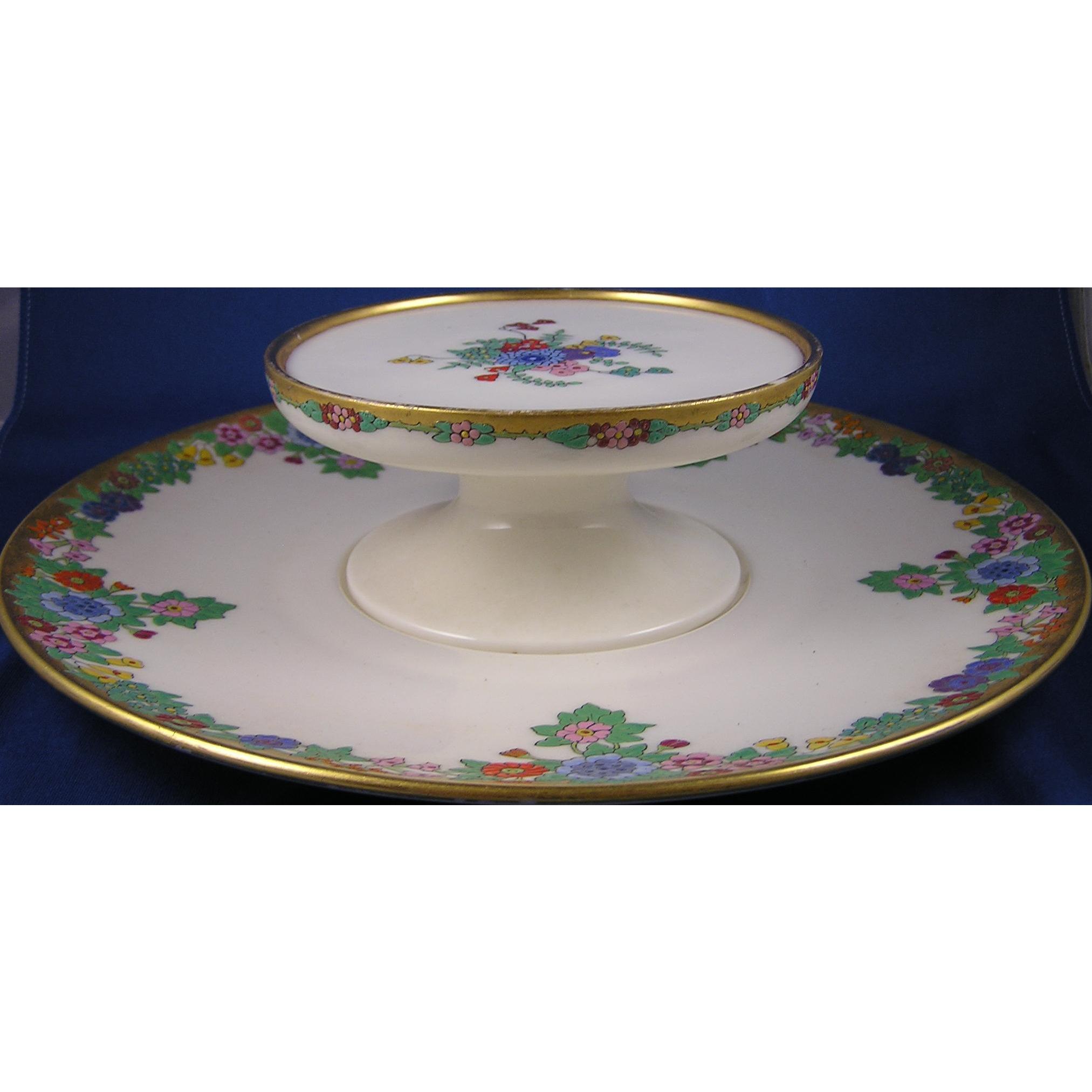 "Lenox Belleek Enameled Floral Design Tiered Caviar Serving Plate/Dish (Signed ""Hazel N. Green""/Dated 1926)"