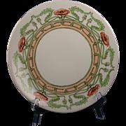 """Limoges Mark 6 Arts & Crafts Poppy Design Plate (Signed """"M.H.O.""""/c.1891-1930)"""
