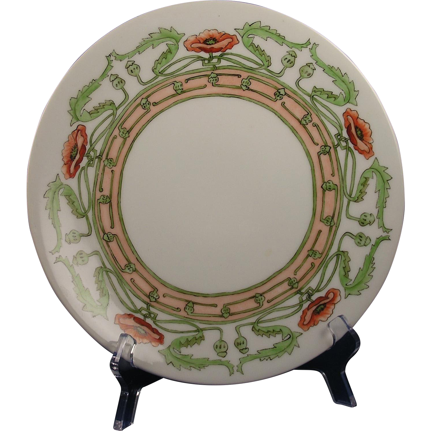 "Limoges Mark 6 Arts & Crafts Poppy Design Plate (Signed ""M.H.O.""/c.1891-1930)"