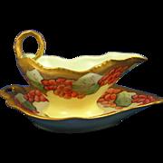 Coiffe Limoges Arts & Crafts Berry Motif Sauce Dish Set (c.1891-1914)