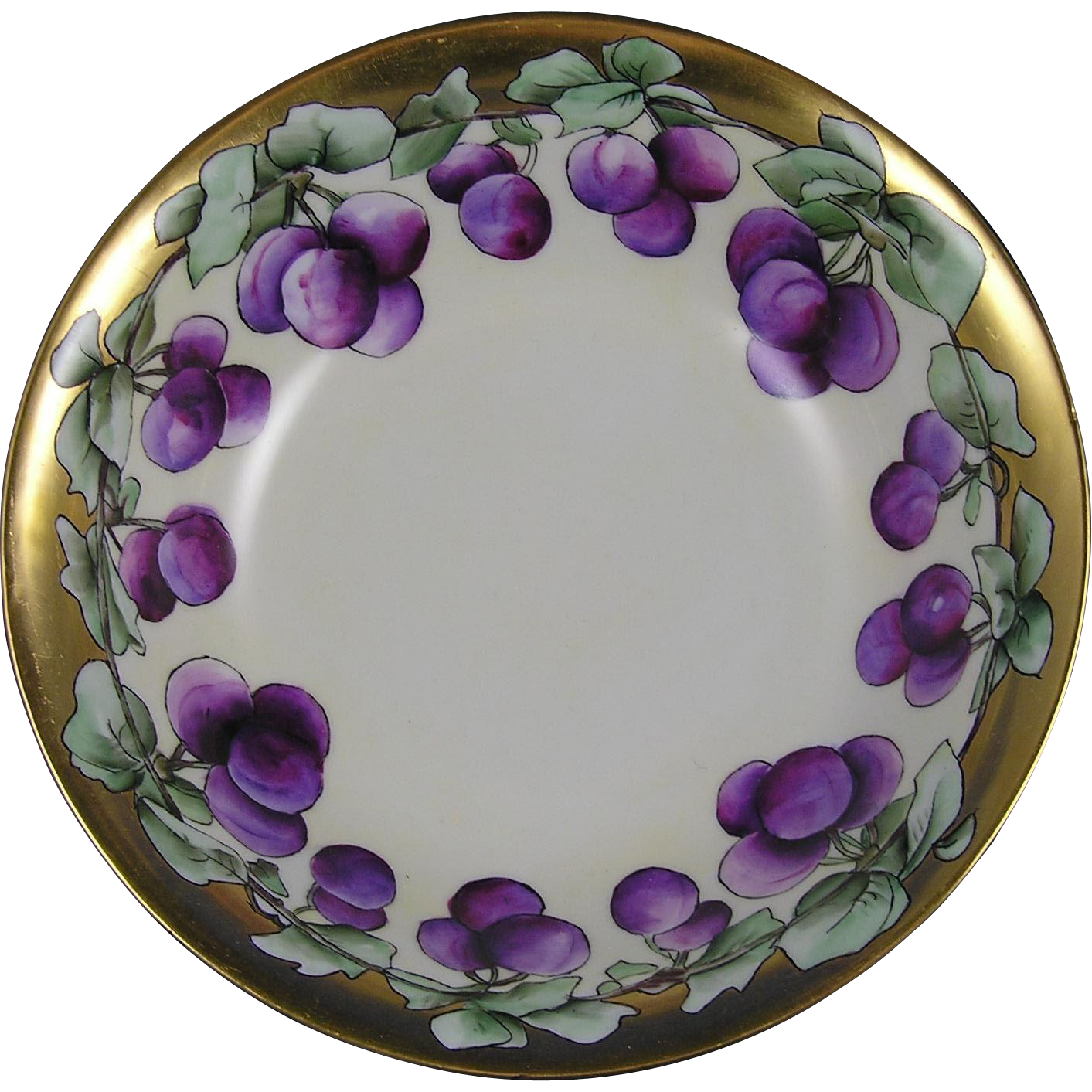 "Krister Porcelain Manufactory (KPM) Germany Plum Motif Centerpiece Bowl (Signed ""I.J.""/c.1904-1927)"