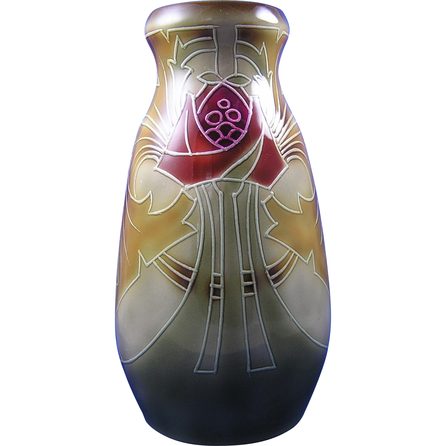 Royal Bonn Germany Arts & Crafts Tube-Lined Thistle Motif Vase (c.1899-1923)