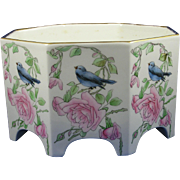 Bernardaud & Co. (B&Co.) Limoges Arts & Crafts Bird & Roses Design Vase/Jardinière (c.1900-1914)
