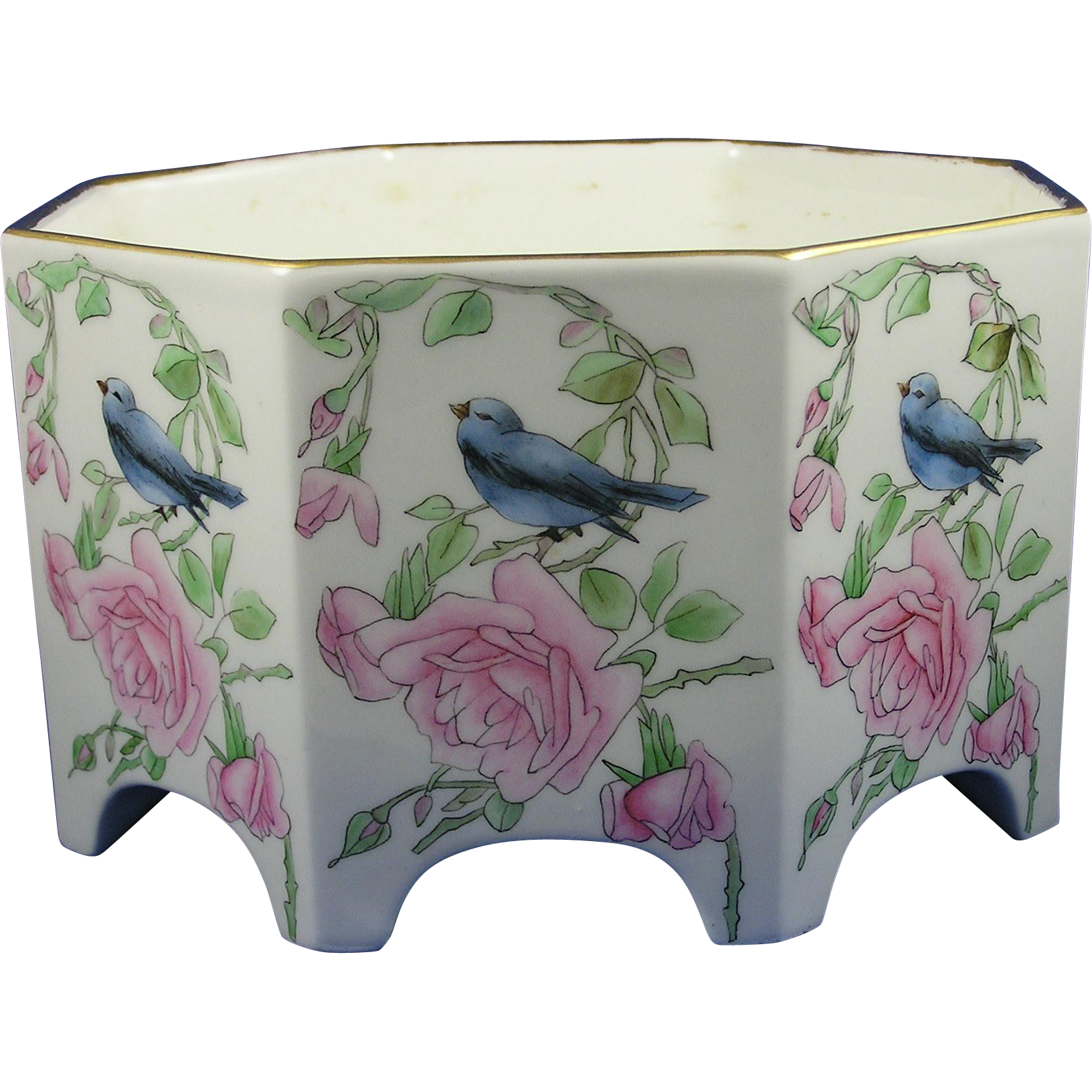 Bernardaud & Co. (B&Co.) Limoges Arts & Crafts Bird & Roses Design Vase/Jardinière (c.1900-1914)