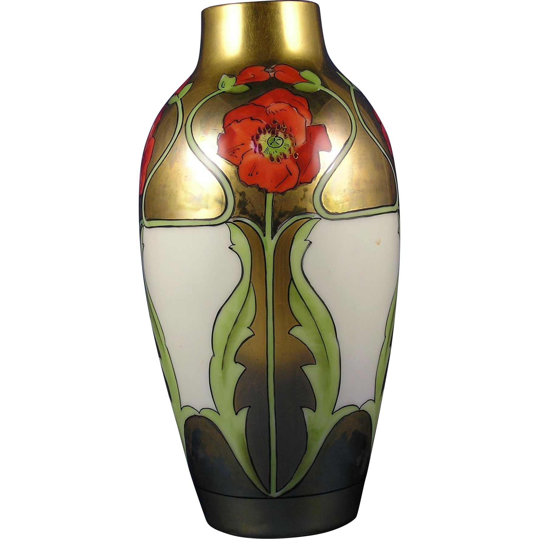 White's Art Co. Chicago Arts & Crafts Poppy Design Vase (c.1914-1923)