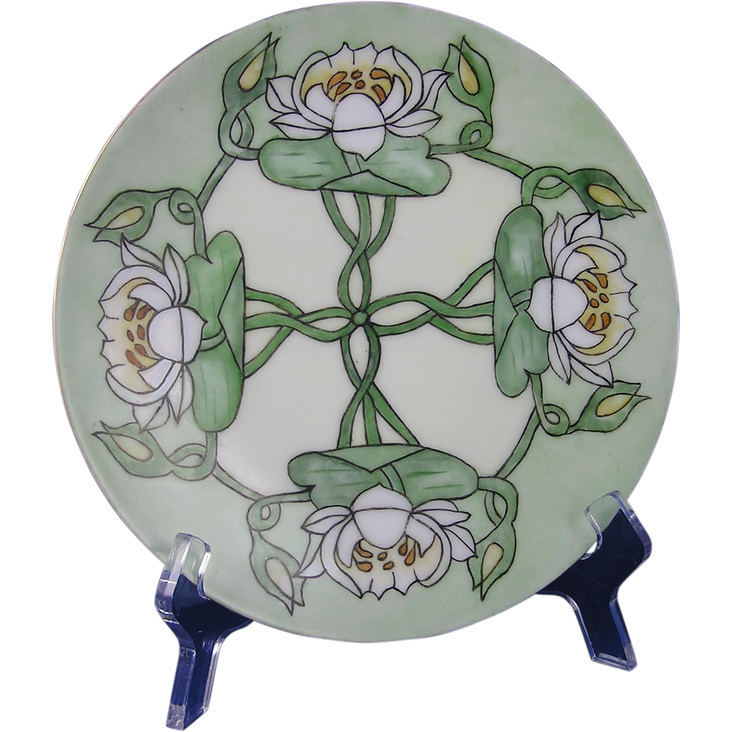 "Thomas Bavaria Arts & Crafts Lotus Blossom Motif Plate (Signed ""E. Miller""/c.1908-1930)"