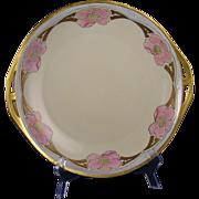 """Schonwald PSAA Bavaria Arts & Crafts Floral Design Handled Plate (Signed """"Elsa R. Nordin""""/Dated 1922)"""