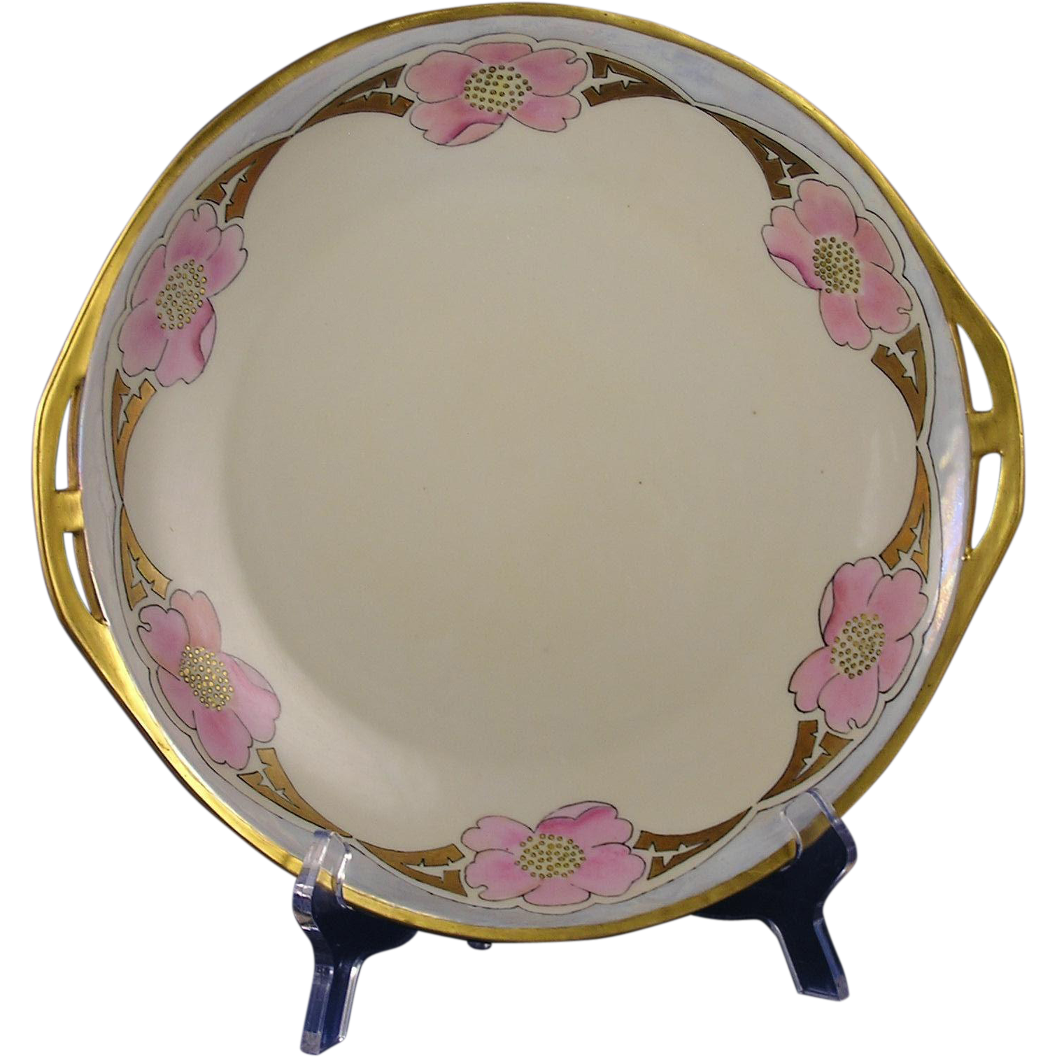 "Schonwald PSAA Bavaria Arts & Crafts Floral Design Handled Plate (Signed ""Elsa R. Nordin""/Dated 1922)"