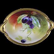 """Julius Brauer Studios GDA Limoges Plum Design Dish (Signed """"A. Rold""""/c.1910-1916)"""