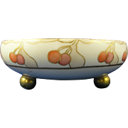 Tressemann & Vogt (T&V) Limoges Art Deco Cherry Motif Footed Centerpiece Bowl (c.1892-1920)