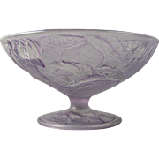 Consolidated Glass Co. Martele Purple Wash Gold Fish Design Bowl/Compote (c. 1920's)