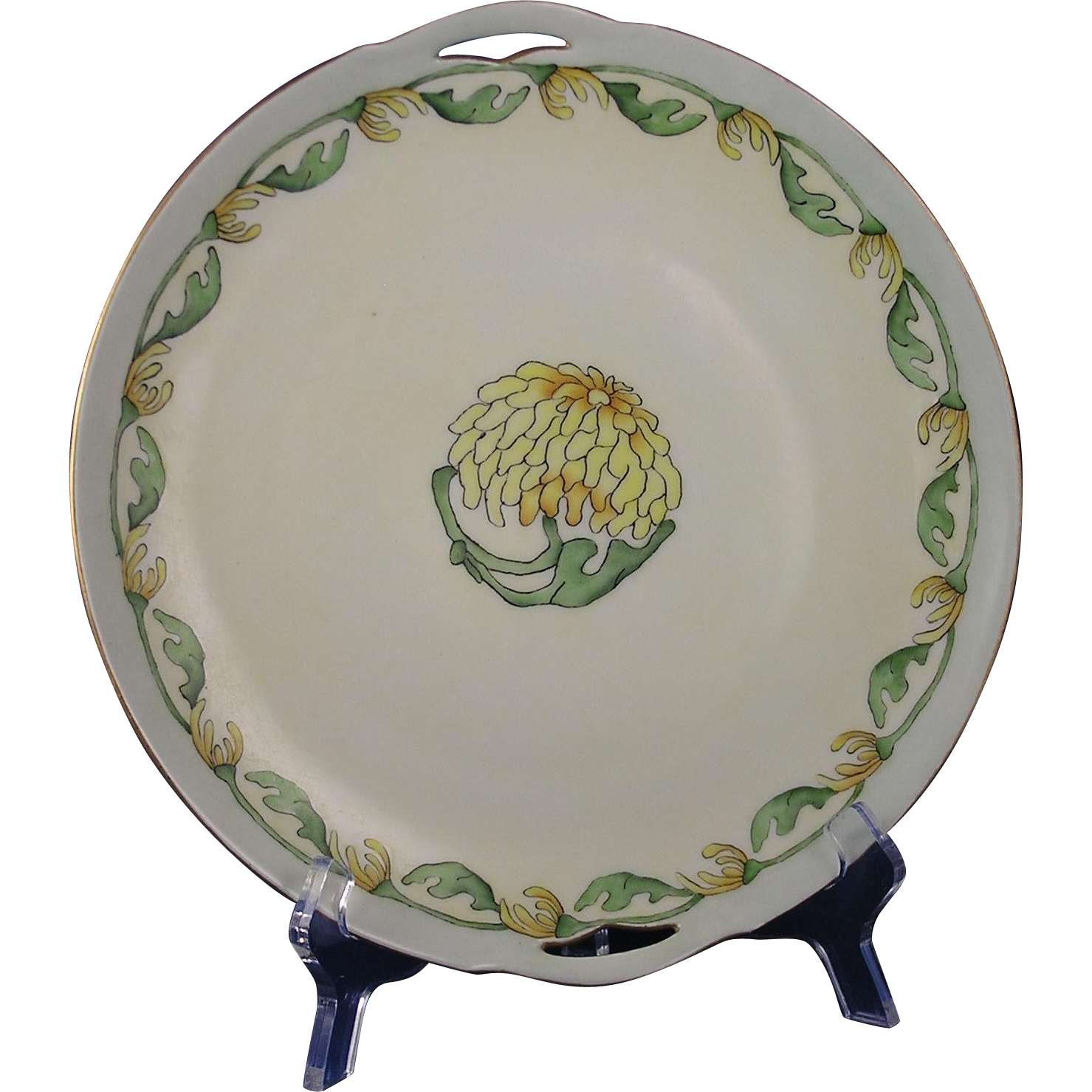Krister Porcelain Manufactory (KPM) Germany Arts & Crafts Floral Motif Handled Plate (c.1904-1927)