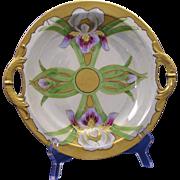 """Haviland Limoges Iris & Lustre Motif Handled Bowl (Signed """"Ursch""""/c.1894-1931)"""
