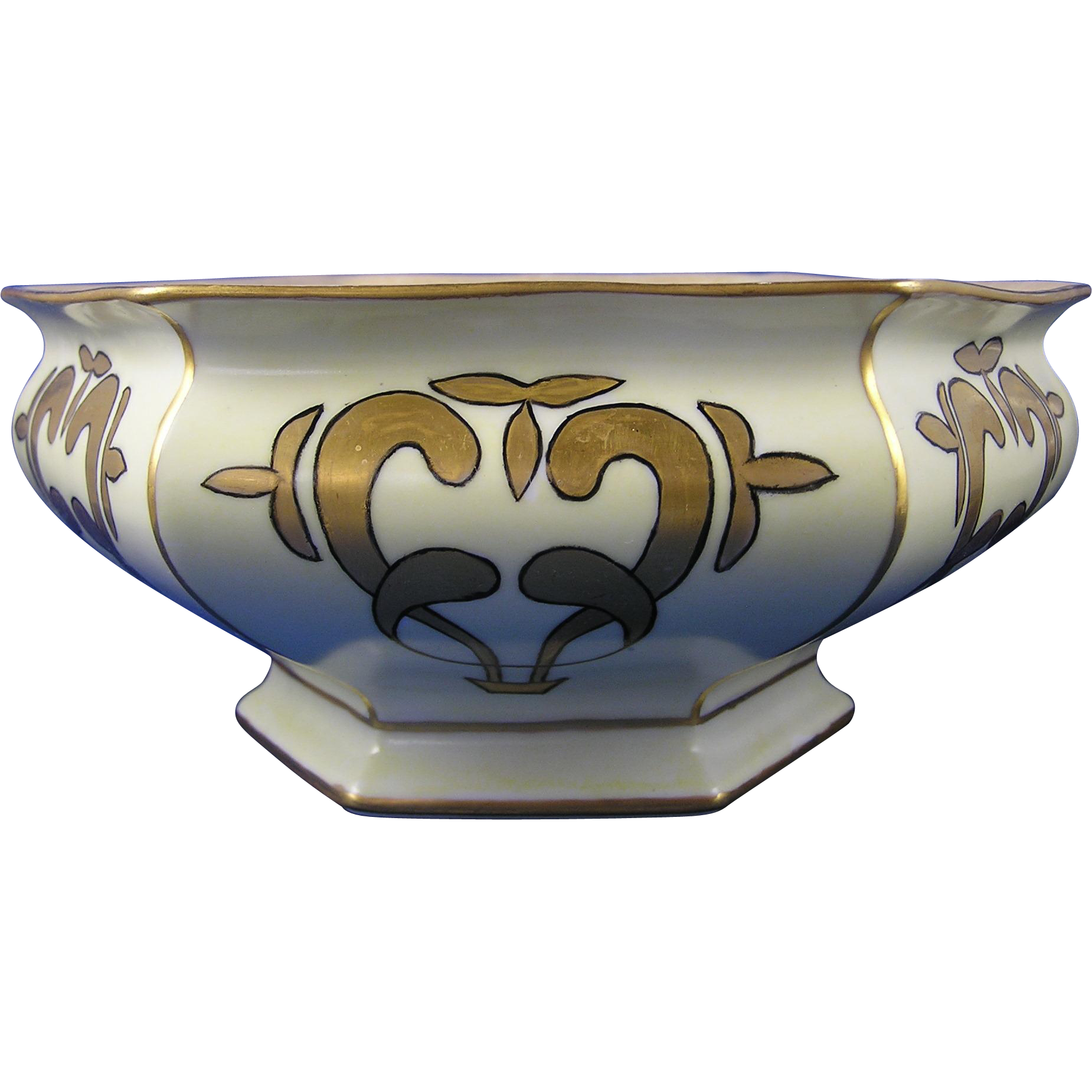"Bernardaud & Co. (B&Co.) Limoges Arts & Crafts Lustre Centerpiece Bowl (Signed ""L.B.C""/Dated 1917)"
